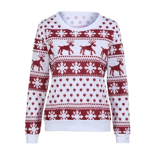 2018 Winter Women Sweater Christmas Red deer and maple