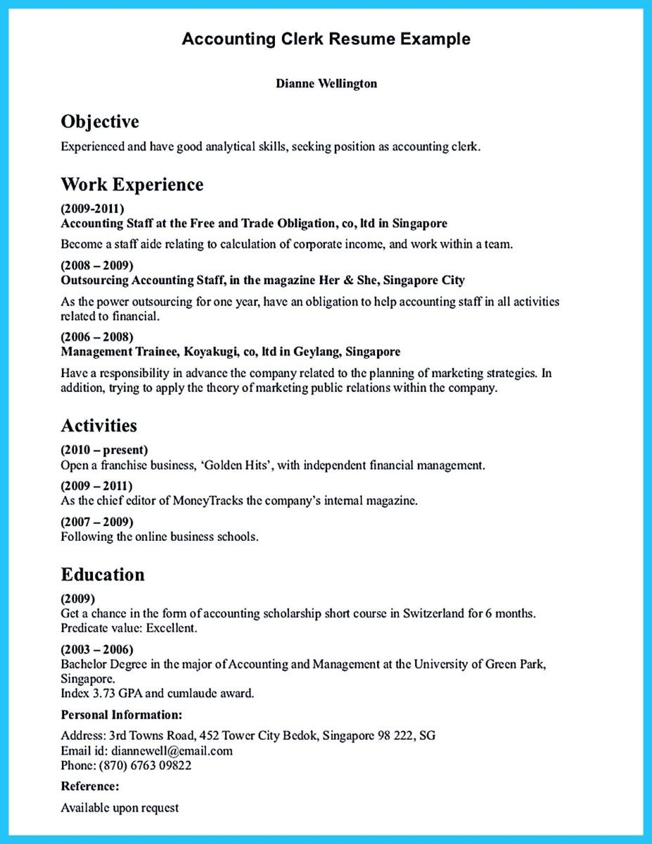 Cool Sample For Writing An Accounting Resume