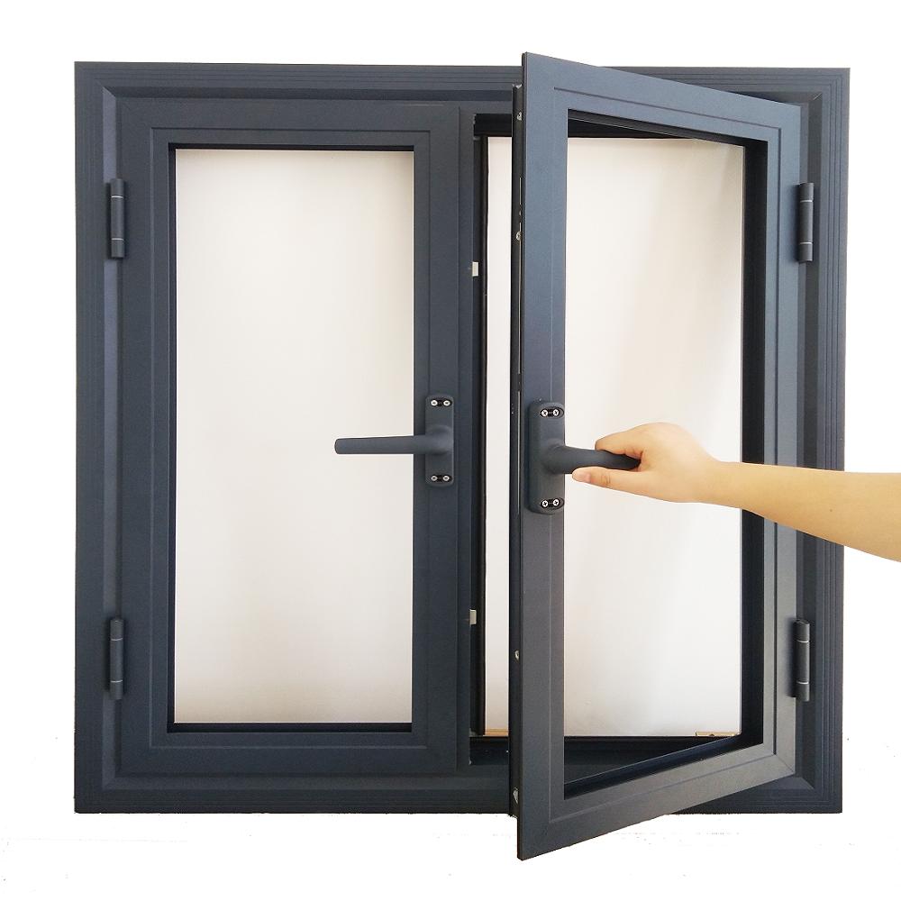 High Quality Double Leaf Design Aluminum Frame Glass Casement