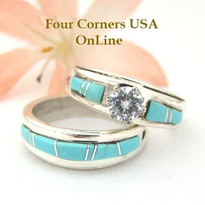 Size 6 1 2 Turquoise Engagement Bridal Wedding Ring Set Native American Silver Jewelry WS 1454