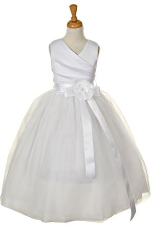 Flower Girl Dress, Flower girl dresses, Communion Dress, Sleeveless quality bridal satin long dress