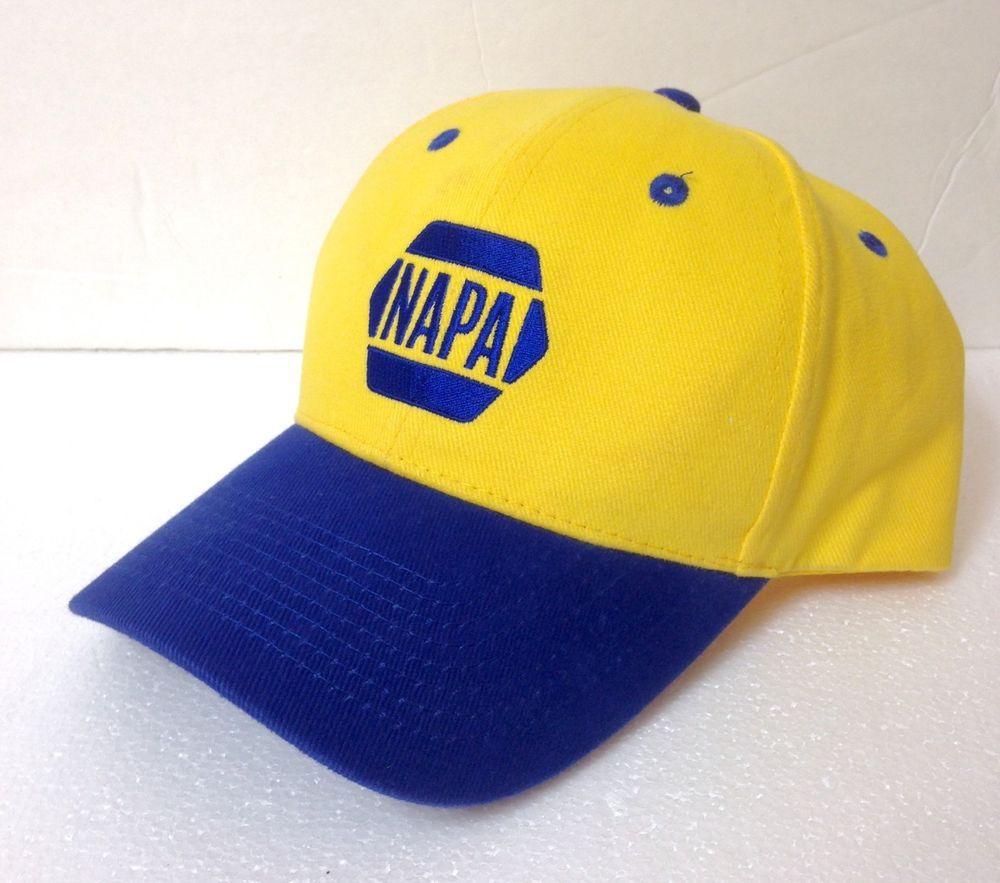 ec05085f9e6 NAPA AUTO PARTS HAT Yellow Blue Curved Bill Structured Fit Car Truck  Men Women  Napa  BaseballCap