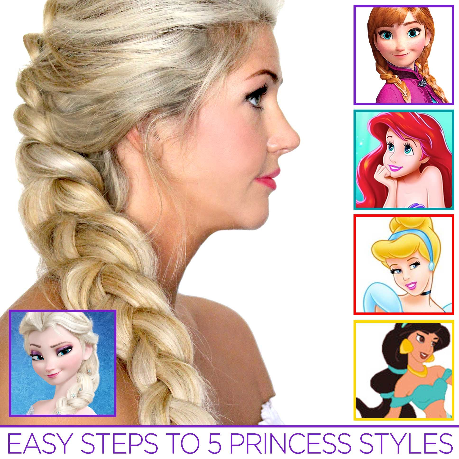 5 easy princess hair tutorials #disney #princess #hairstyle