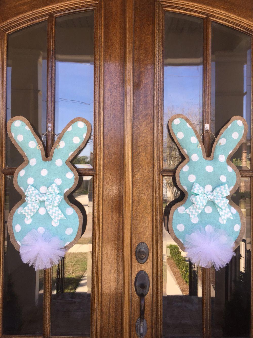 Double Door Bunny Burlap Door Hanger My Burlap Door Hanger Creations Burlap Door Hangers Double Door Wreaths Wooden Door Hangers