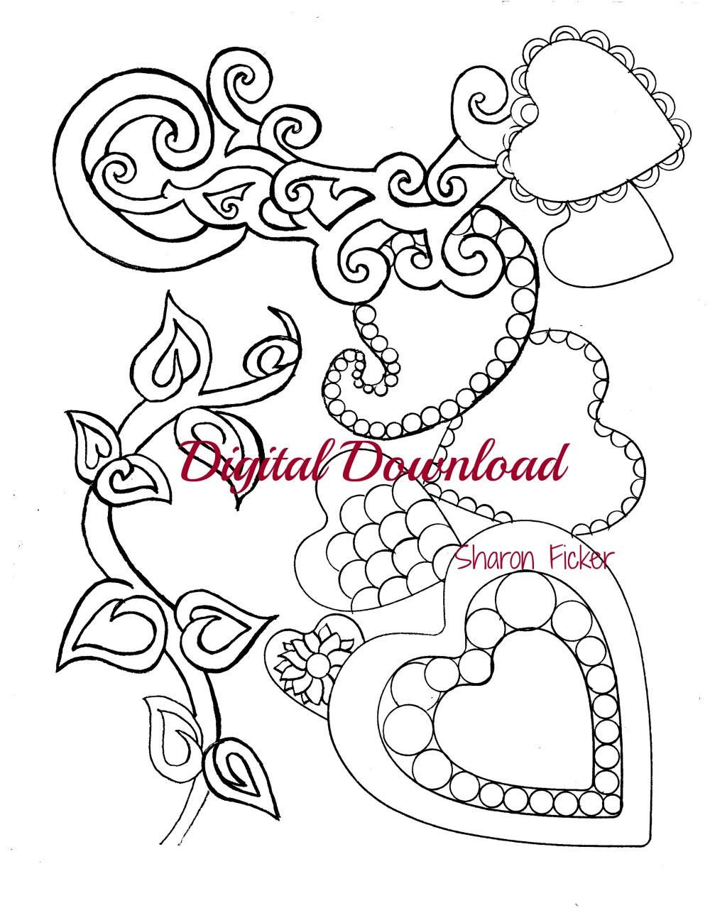 Printable Coloring Book Hearts Art Therapy Calming Anti Stress