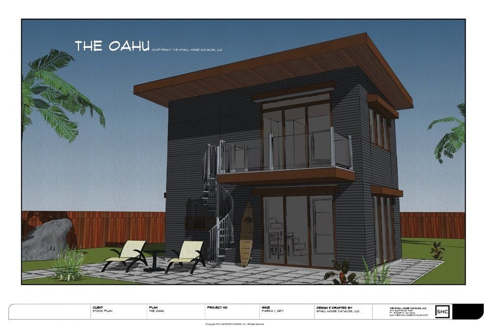 OAHU small home design with 1 bedroom, 1 bath, porch