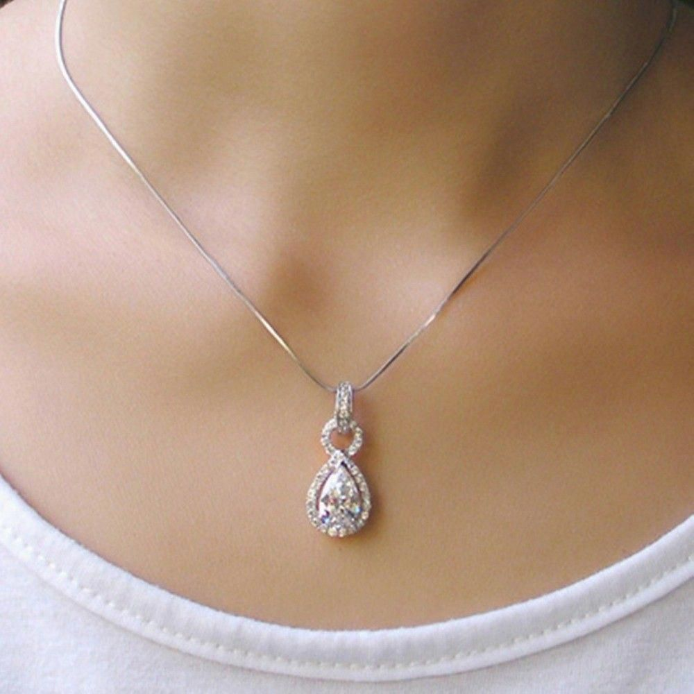 New 2 Carat Diamond Necklace Carat Diamond Necklace Diamondnecklace Silver Necklace Prom Pear Shaped Diamond Necklace Silver Jewelry Pendant