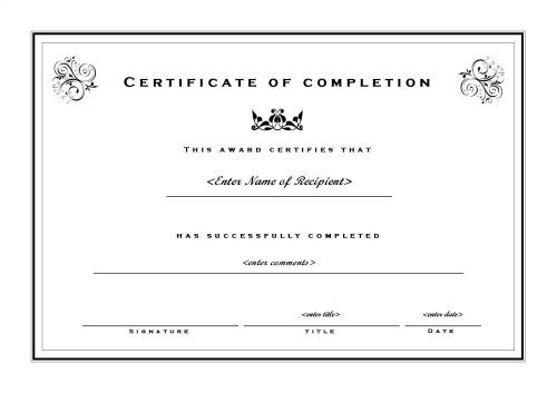 Free Printable Certificate Of Completion Template Image  Projects