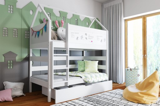 Lozko Domek 2 Pietrowe 160x80 Bialo Szare Home Decor Furniture Bed