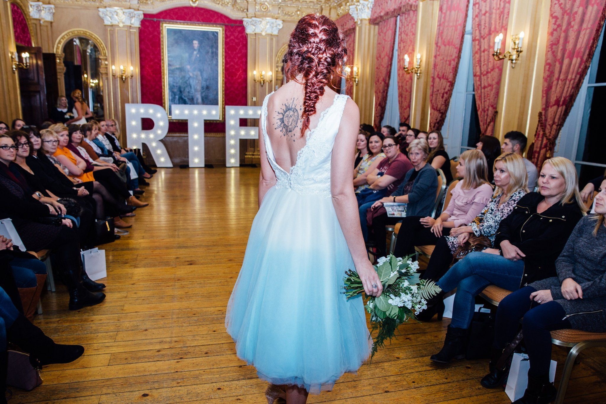 Hound dogu by lucy canut dance blue dip dye wedding dress with lace