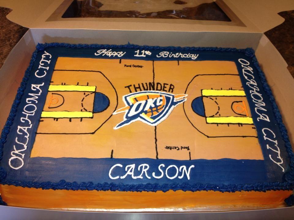 Stupendous Oklahoma City Thunder Basketball Cake Basketball Cake Thunder Birthday Cards Printable Inklcafe Filternl