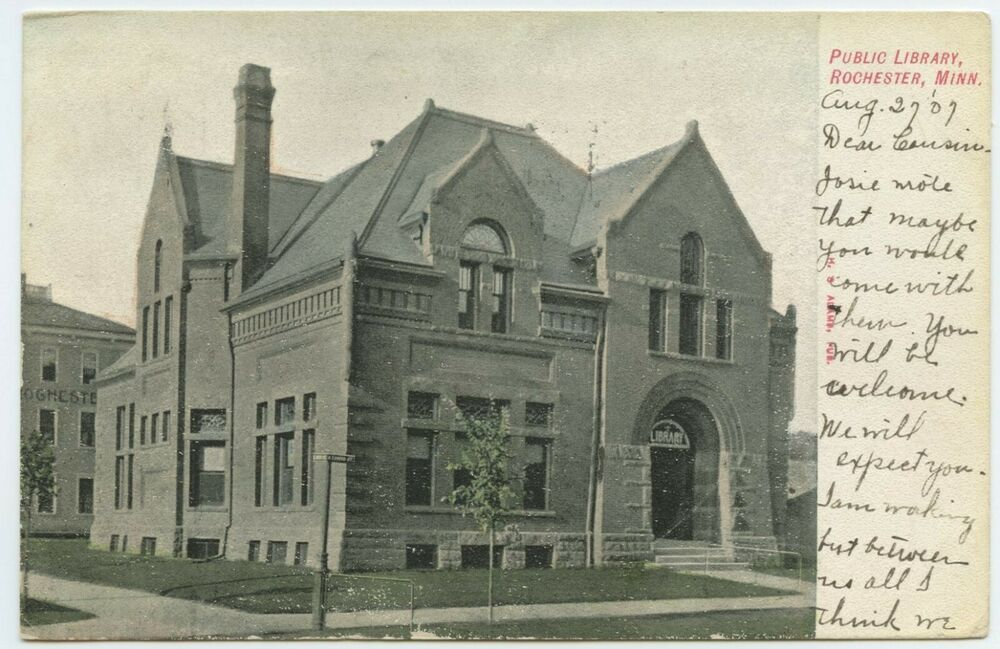 Public library rochester minnesota usa vintage view