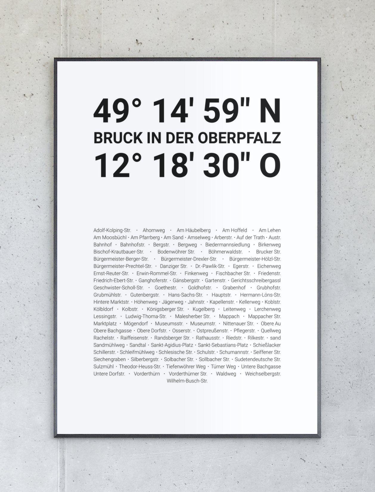 Koordinaten Poster Von Bruck In Der Oberpfalz Koordinaten Weisswasser Lauffen Am Neckar