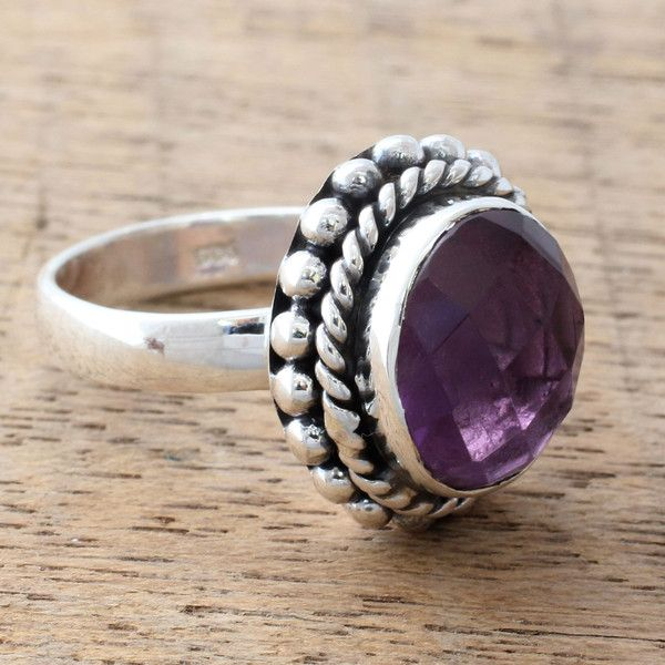 Novica Amethyst solitaire ring, Simply in Purple