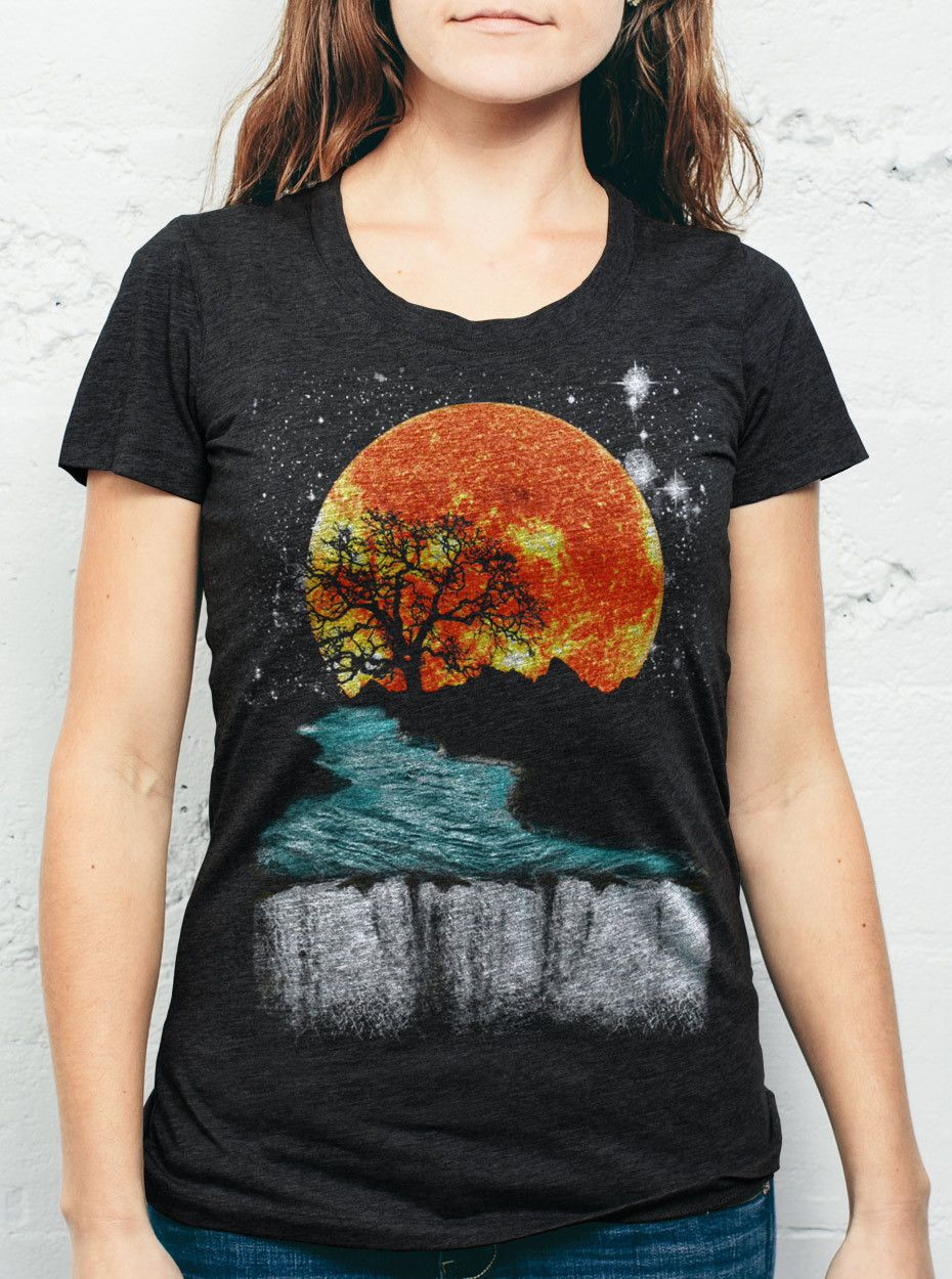 ba7a9171a Sunset Waterfall - Multicolor on Heather Black Womens T-Shirt - Curbside  Clothing