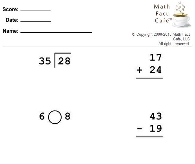 Basic Facts Worksheet Generator Math Facts Worksheets Elementary Math