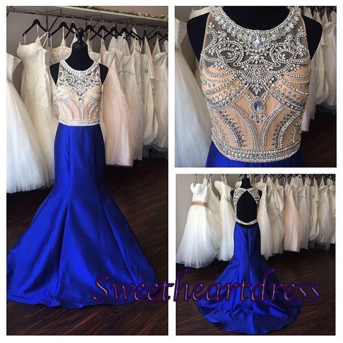 Prom navy blue satin open back beaded long prom dress for