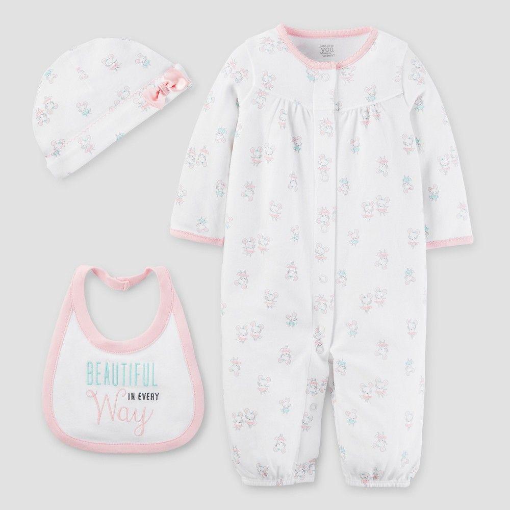 Baby Girls\' 3 Piece Converter Gown Set White/Light Pink Pre - Just ...