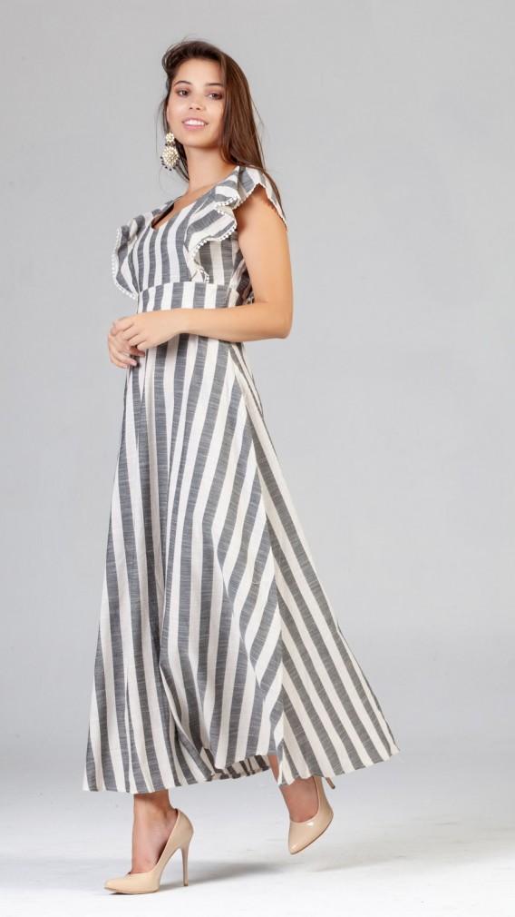 Omuz Detay Cizgili Keten Elbise Gri Elbise Moda Stilleri Puantiyeli Elbise