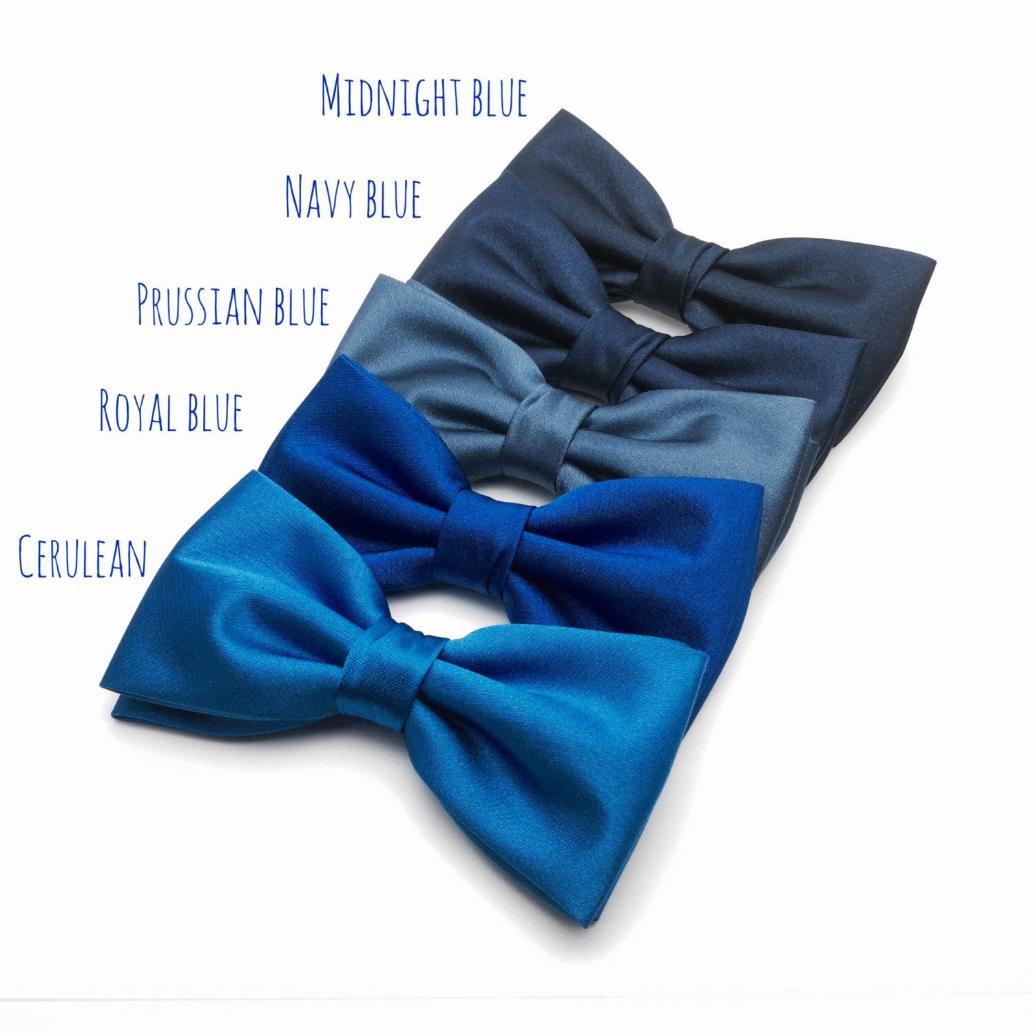 Mens Bow Tie Navy Blue Royal Prussian Cerulean Solid Satin Bowtie For