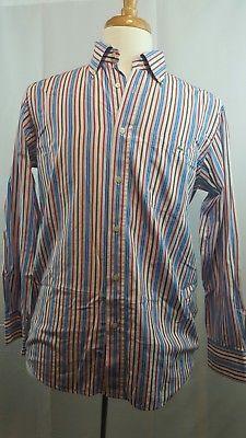 c26e248f48 Lacoste Mens Button Down Shirt Striped Blue Red Brown White Sz 40 ...