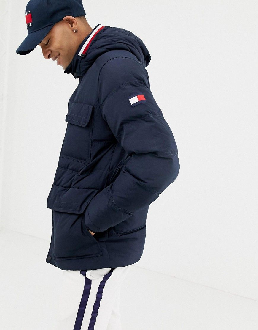 c3e7a0d5 TOMMY HILFIGER DOWN HOODED PUFFER JACKET IN NAVY - NAVY. #tommyhilfiger # cloth