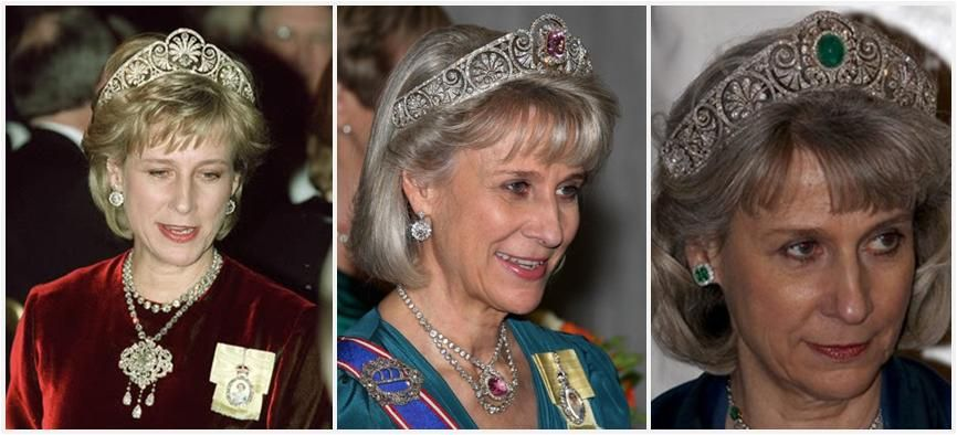Duchess of Gloucester, Birgitte, wearing the Gloucester tiara with three different elements: the diamond honeysuckle, the pink topaz, and an emerald surrounded by diamonds.