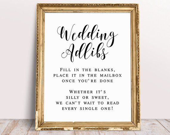 picture about Wedding Signs Printable called Marriage ceremony Adlibs Indication, Marriage ceremony Printables, Wedding ceremony Indicators