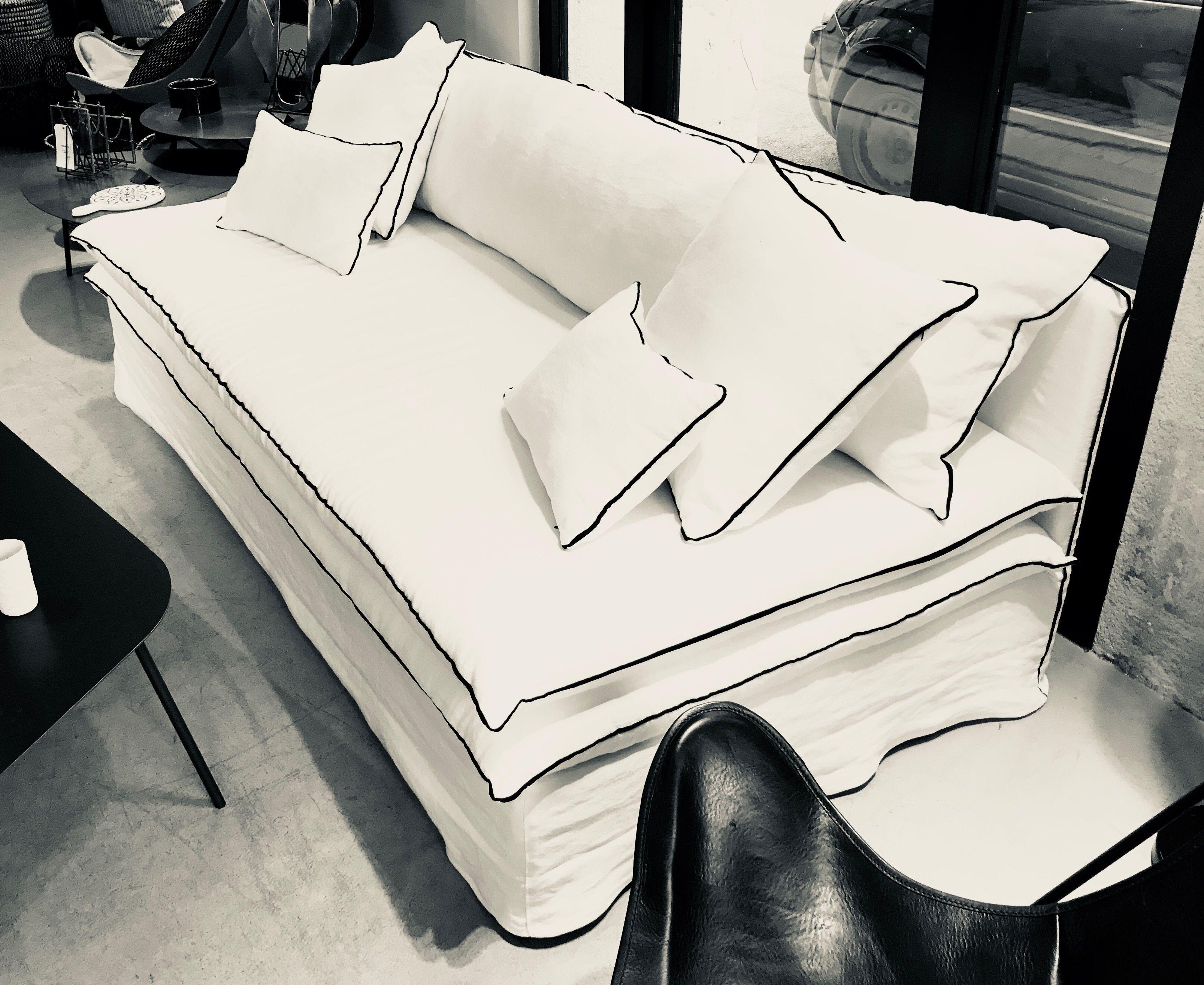 Canapé sur mesure lin lavé blanc La Maison Poetique  Bordeaux