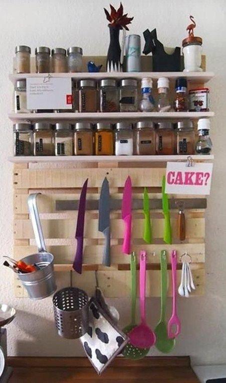 Etagères à épices Grand Format En Bois De Palette Pour La Cuisine - Grand meuble cuisine pour idees de deco de cuisine