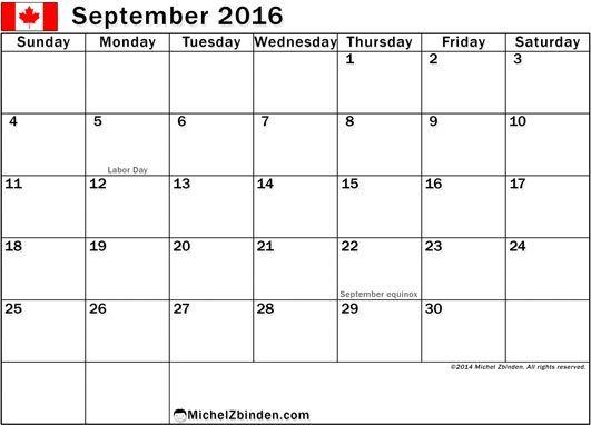 September  Calendar Canada  September  Calendar