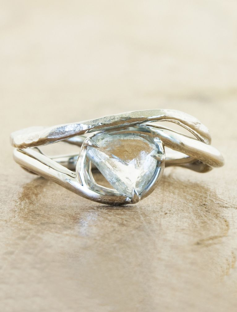 leaf aquamarine nature rings designer pin ring engagement inspired wedding