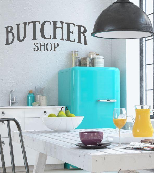 Butcher Shop, Wandtattoos, Wandsticker, Wandaufkleber, Fleisch, Küche, kochen, Fleischer