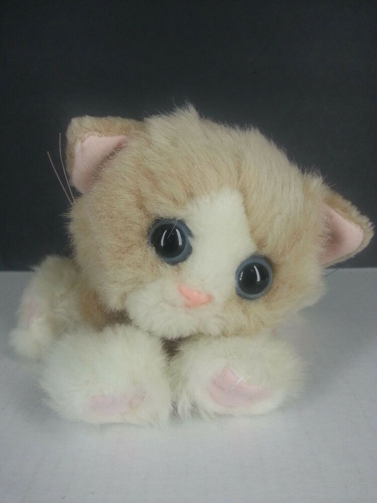 Kitty Kitty Kittens Tan White Purring Plush Cat Soft Toy Blue Eyes