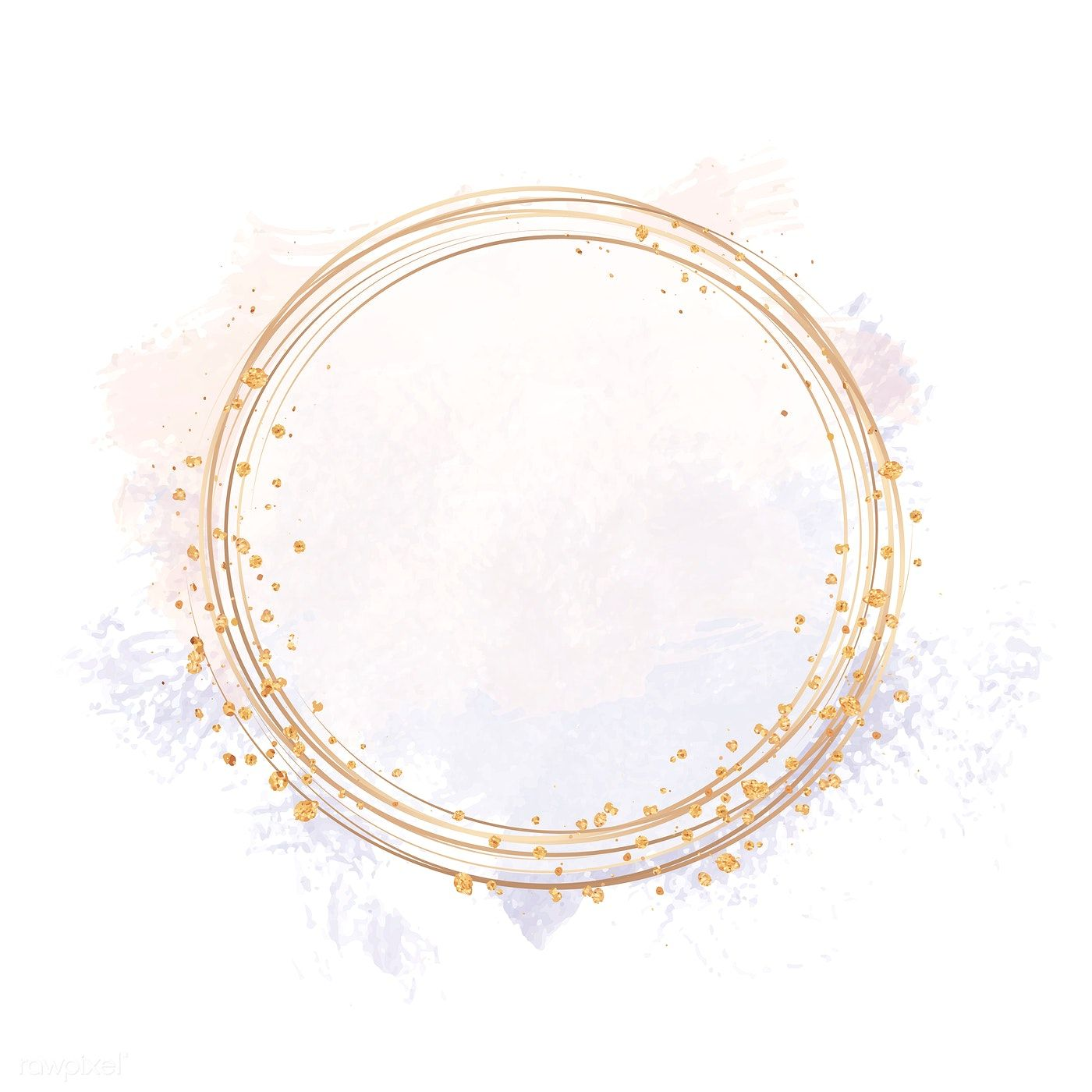Gold circle frame on a pastel pink and purple background