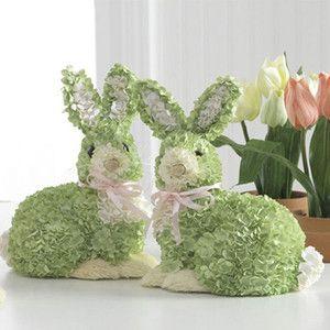 raz 85 green hydrangea bunny rabbit easter decoration set - Easter Decoration