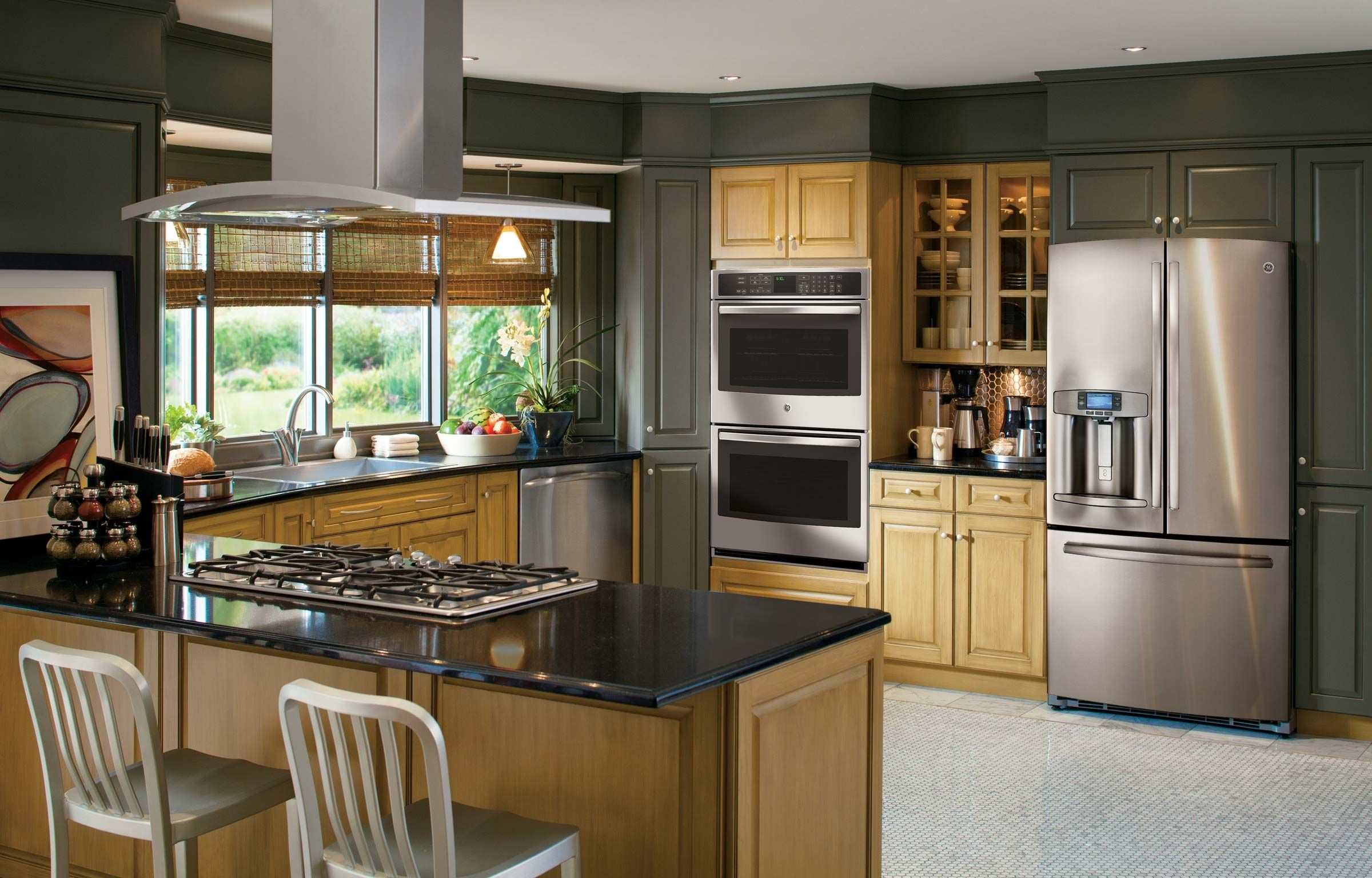 Stainless Gallery Dark Green Kitchen Lg Jpg 2400 1536 Kitchen Remodel Design Kitchen Appliance Set Kitchen Design