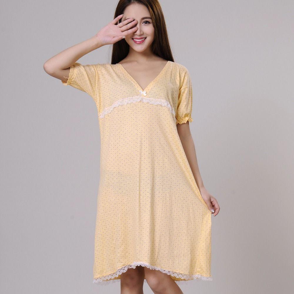 100% 잠옷 여성 여름 sleepshirts 2017 새로운 가을 v 넥 여성 잠옷 십대 소녀 라운지 녹색 노란색