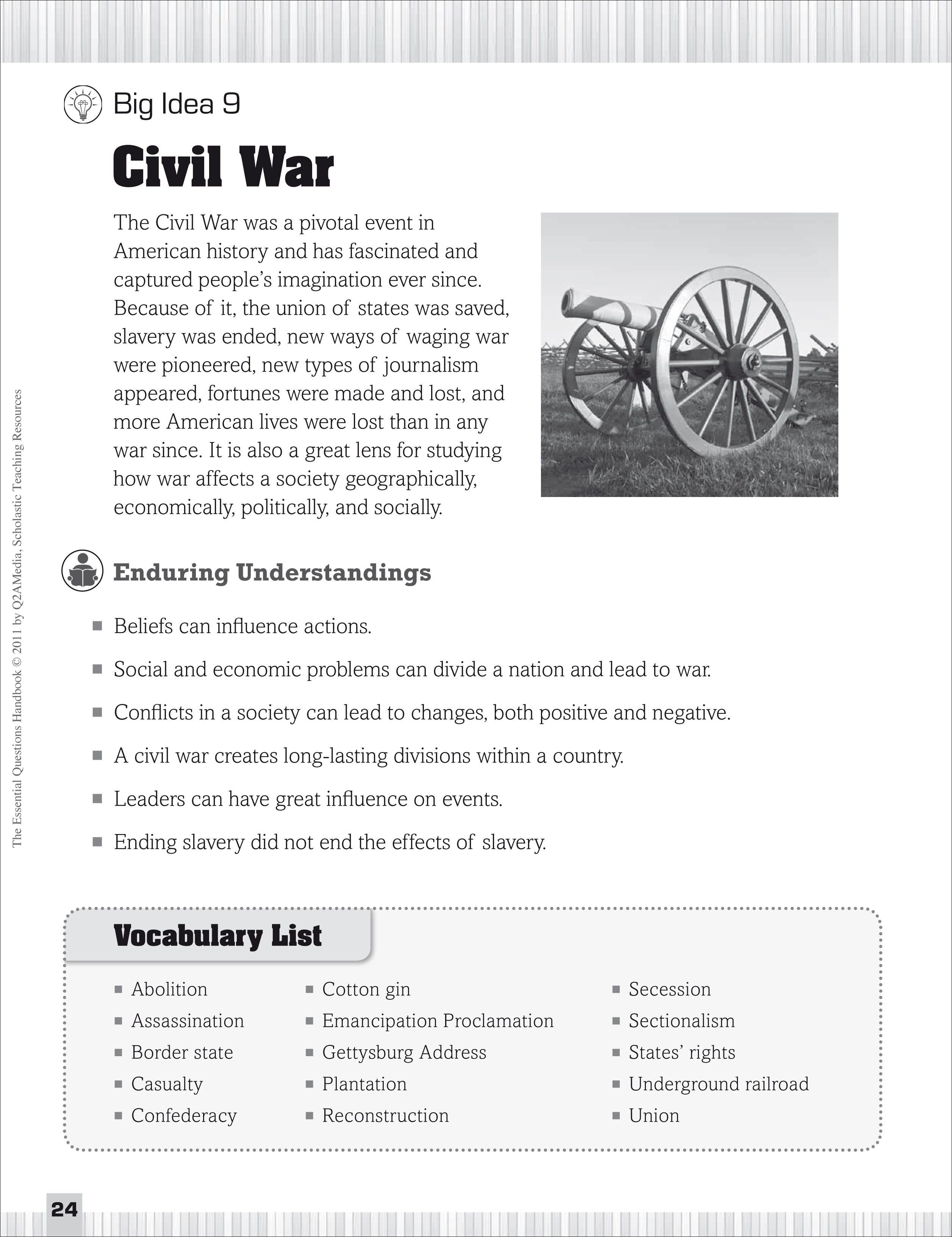 Civil War Essential Questions For Social Stu S