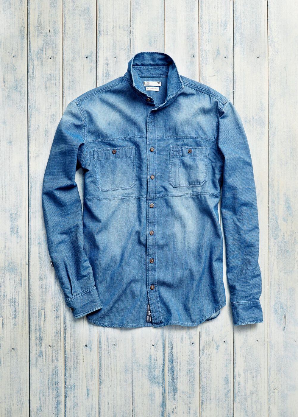 Stripe textured distressed shirt
