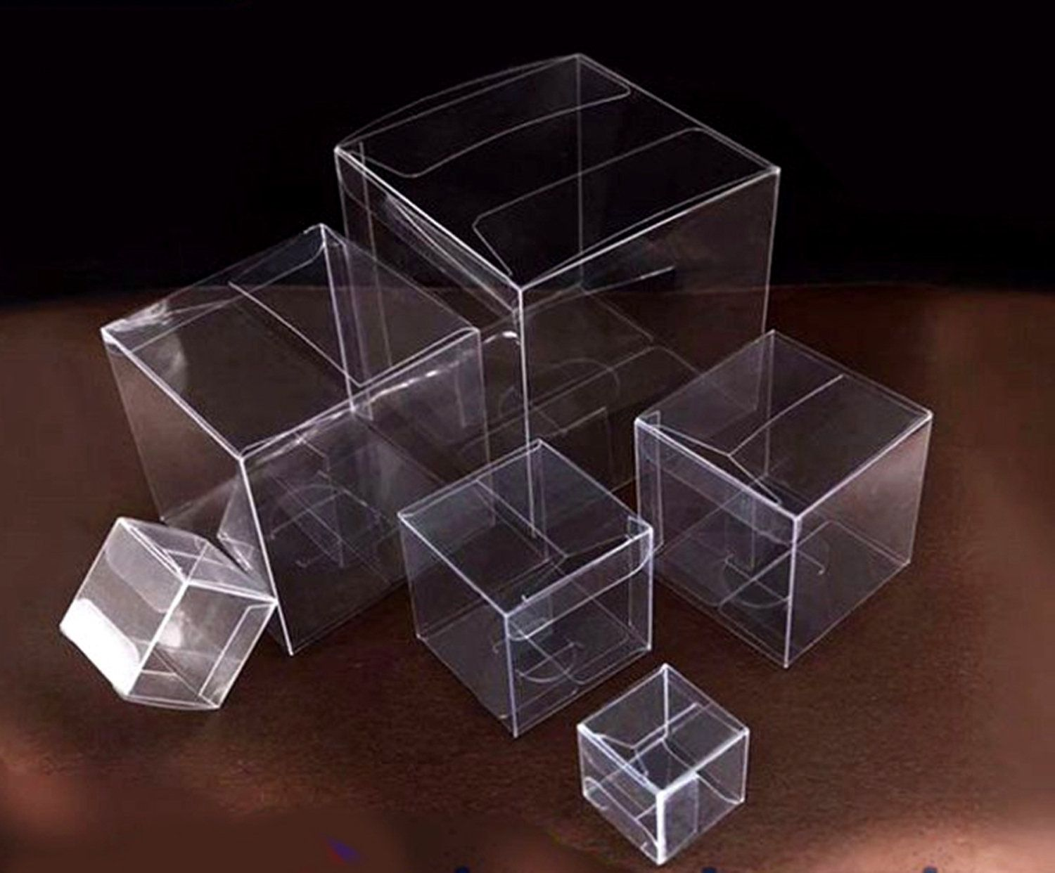 50pcsclear pvc plastic folding packaging cube box for