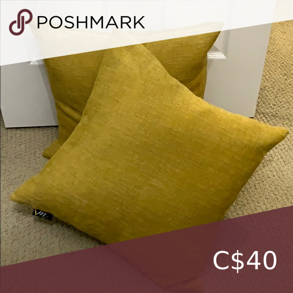 2 milli home feather fill accent mustard pillows