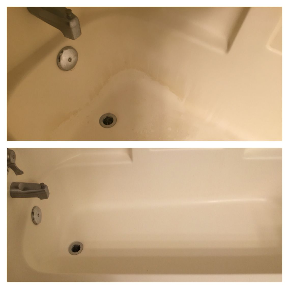 Used Kaboom Shower, Tub And Tile With Oxi To Clean This Soap Scum Tub.