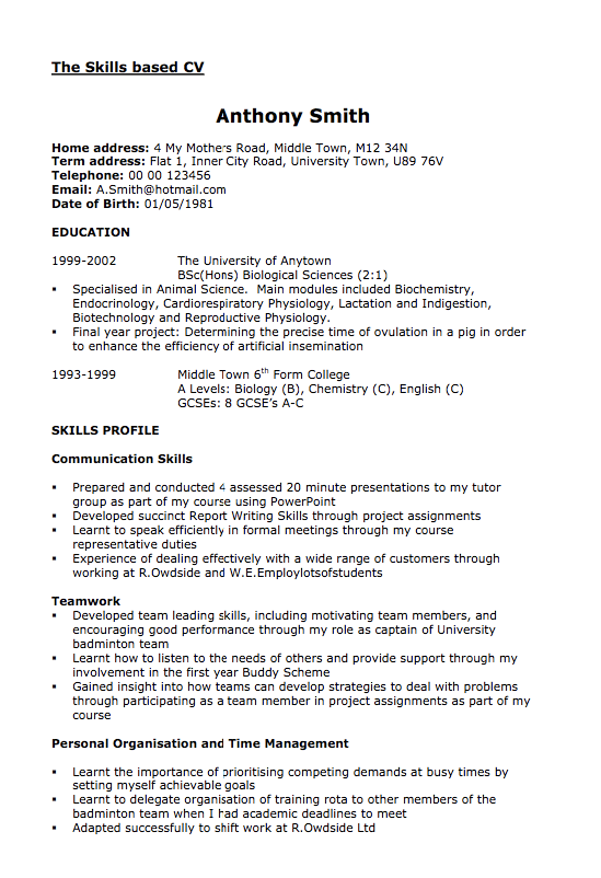 Example of Skills Based CV Free resume samples, Cover