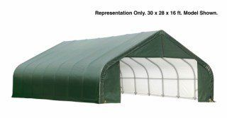 Shelterlogic Peak Style 30ft W Garage Storage Shelter Green 32ft L X 30ft W X 16ft H 2 3 8in Frame Storage Shelters Wooden Canopy Steel Frame Construction
