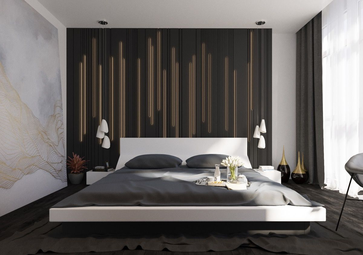 41++ Modern bedroom feature wall ideas formasi cpns