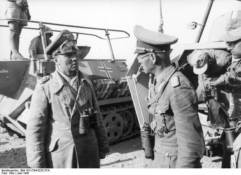 Generals Erwin Rommel and Georg v. Bismarck. North Africa June 1942