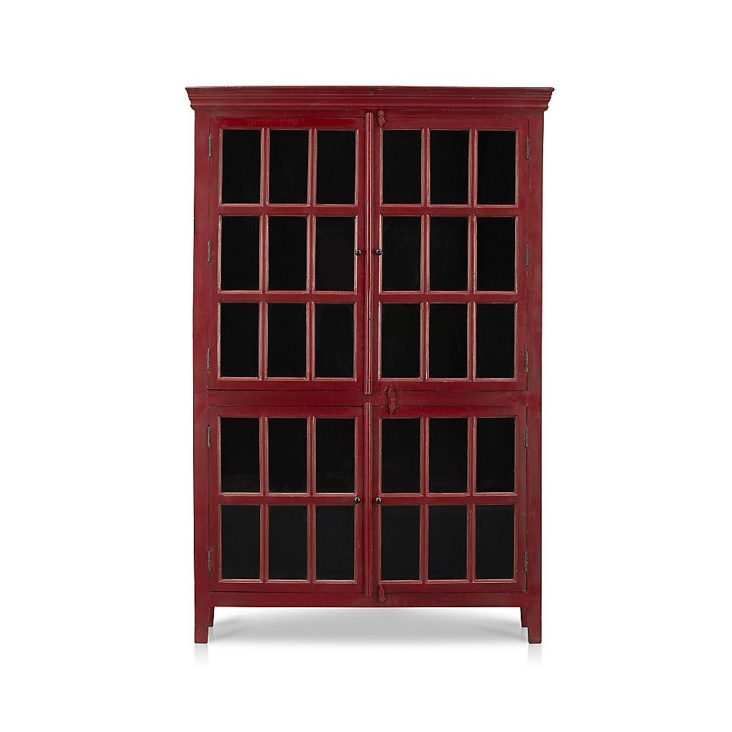 Shop Rojo Red Tall Cabinet Umber Overtones Add Depth Of Character To The Rich Dining Room