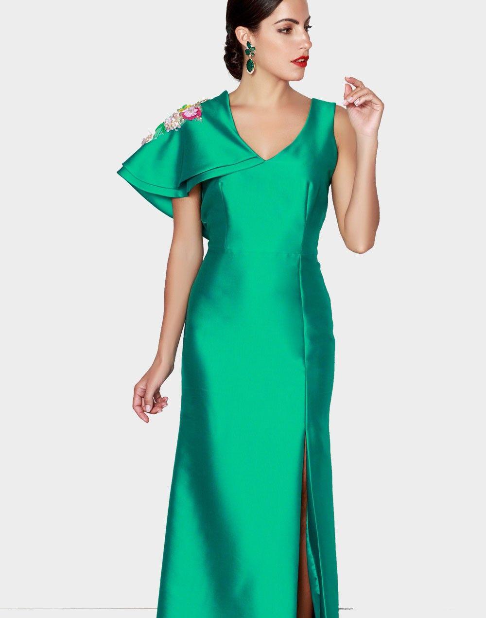 Verde Nuribel Con De Volante Vestido Esmeralda Largo Asimétrico 5ARLj4q3
