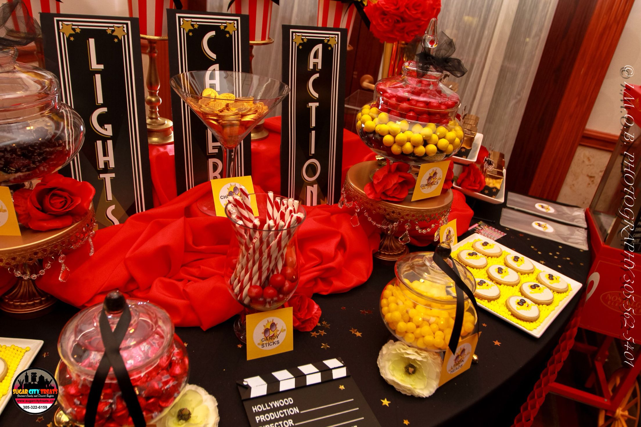 Red Yellow Black And White Candy Buffet With Images Red